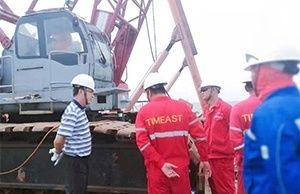 General Manager of Timeast Tianjin Inspected and Visited Yuedong Oilfield Submarine Cable Exposing Repairing Project Construction Site